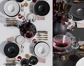 Table setting Black and White 3D asset