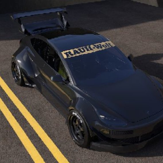 A Tesla model 3 in the style of an RWB Porsche concept car project