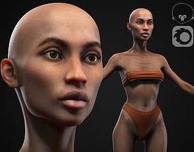 Black skinny woman body 3D model VR / AR ready