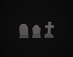 Headstones - Tombstones - Gravestones - Set of 3 3D model