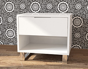 3D model Bedside white nightstand