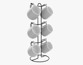 Kitchen stand with with six mugs 3D model