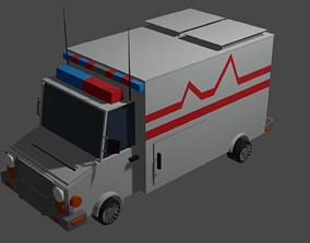 Ambulance stylized low poly 3D