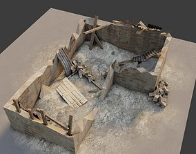 collapsed building with 4k pbr textures 3D model