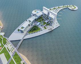 Hotel Beach Resort 3D asset