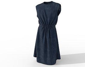 woman denim dress tunic 3D
