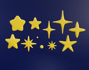 3D asset 9 cartoon star models