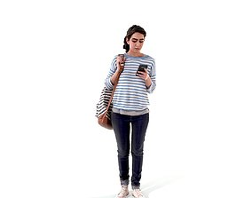 3D model Woman with Backpack Looking at Phone