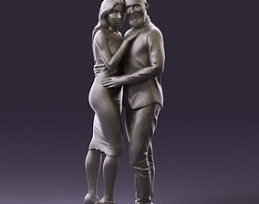 001051 man in white top blue pants and woman 3D Print