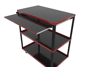 Workshop Service Trolley with Open Shelving 3D