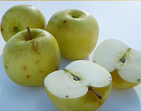 3D asset Apples High Resolution - whole fruit and cut