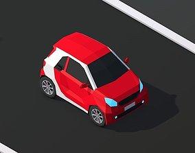 3D asset Cartoon Low Poly Smart Mini Car