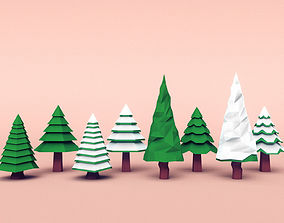 3D model Set of coniferous trees