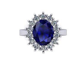 3D printable model Diana sapphire ring 14