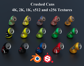 Crushed Soda Cans PBR 3D asset low-poly