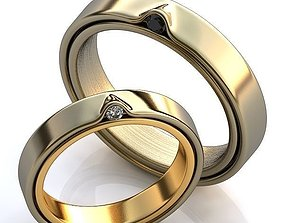 Gold Metal Rings fashion-and-beauty wedding 3D model
