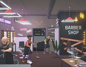 3D asset Low Poly Barbershop