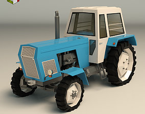 3D model Low Poly Tractor 02