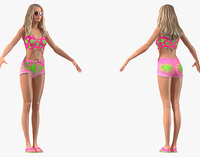 3D Teenage Girl Beach Outfits Rigged