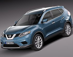 Blue Nissan Rogue 2014 3D model