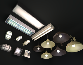 3D asset game-ready Commercial Light Fixtures