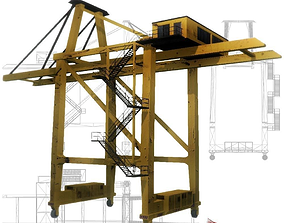 3D asset Port crane yellow low poly