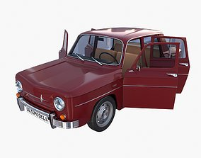 3D Renault 8 with interior Dark Red