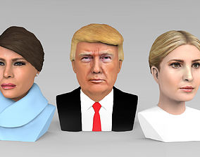 Donald Melania Ivanka Trump busts ready full color 3D