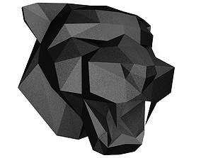 low poly Panther head 3D printable model