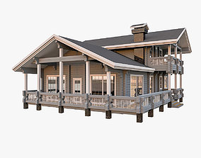 American Timber House With Terrace 3D