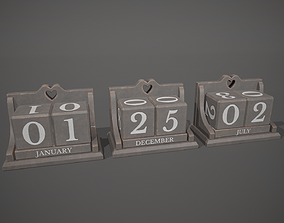 Grey and White Perpetual Wooden Block Calendar 3D asset