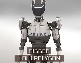 3D asset realtime Police Bot LP Rigged