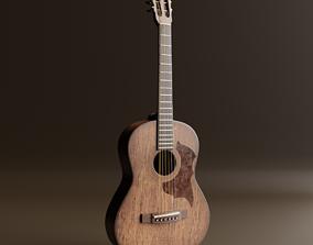 3D asset Acoustic Guitar Realistic brown