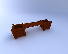 Bench-w-Planters,-Garden 3D