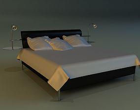 3D model Bed black leather