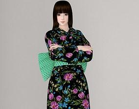 Akari in kimono pose 01 3D model