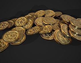 3D asset gold coin - scarab design A