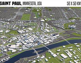 3D model Saint Paul Minnesota USA 50x50km