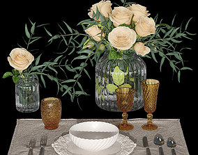 Table setting with roses 3D