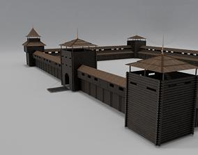 Medieval Wooden Fort 3D asset VR / AR ready