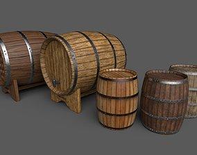 Old Decorative Wine Barrels PBR 3D asset