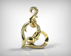 3D printable model Jewelry Golden Pendant Heart Shape