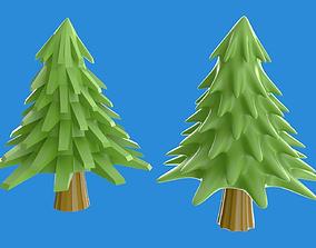 3D asset Cartoony pine or xmas tree