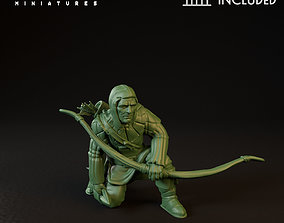 3D print model City Guard with bow Crouched down