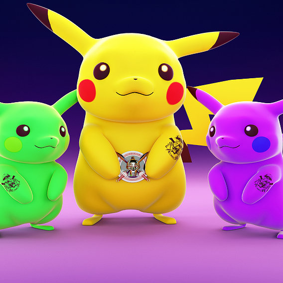 Pokemon Pikachu with a tattoo