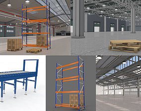 Warehouse and Pallet and Rack Collection 3D model
