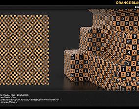 3D model Orange Black UV Checker Map