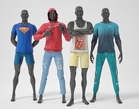 3D Man mannequins whith clothes STRONG pack