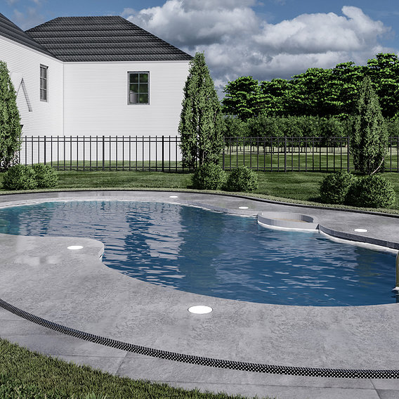 pool design at front of the front yard