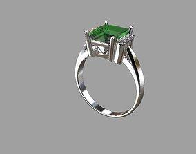 vintage engagement octagon ring 3D print model